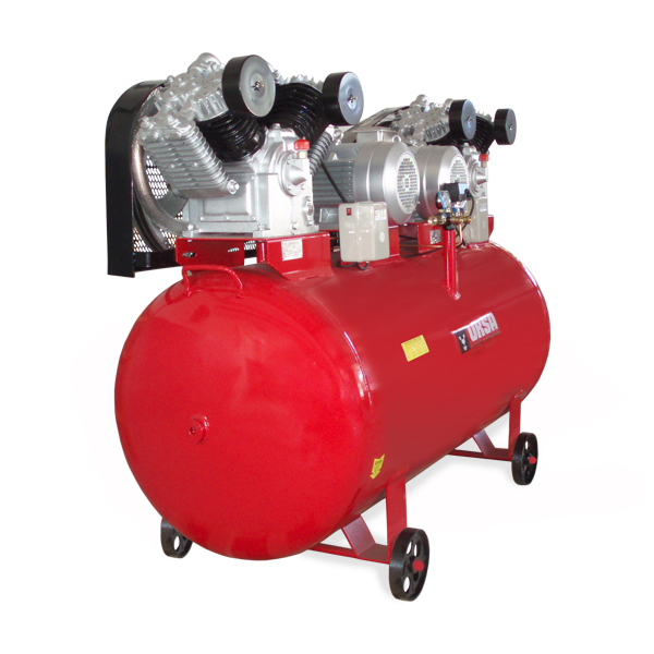 """Industrial grade air compressor, equiped with two twostage large air flow pumps.            Air delivery     81 cfm         Compressor Stage    Two        Pump RPM    740        Pump Material    Solid Cast Iron        Motor RPM    1400        Motor Phase    Three        Voltage available    380V        Tank Size    264 Gallon        Tank orientation    Horizontal        Tank Outlet Size    2X1,5"""" , 2X3/4""""; 4X1/2""""       Tank Drain    Manual         Max PSI    175        Drive Type    Belt Driven             Configuration may vary, on request."""