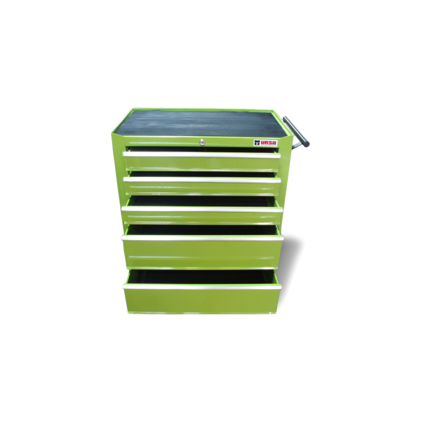 Tool cabinet for proffesional use in garages and workshops   Drawers with sliding mechanism   Locking mechanism for all drawers   Heavy duty handle and casters   Top liner and drawer liner's   Dimmensions with casters 680x435x780   3 drawers 550x386x75.5   2 drawers 550x386x155   Casters 100x25 (two pcs. swivel with brake)