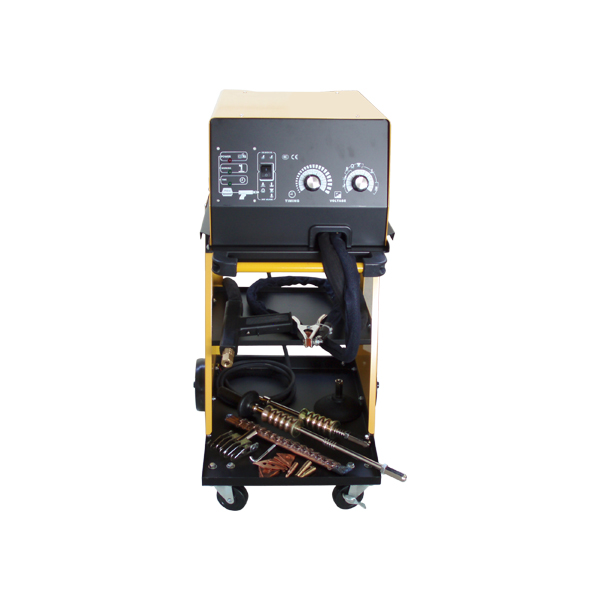 Max. output current 5800A   Input power 19kVA   Input current 20A   Power supply 220V/50Hz   Output voltage when using electrods 4-8V AC   Output voltage when using carbon rod 3.5-5V AC   Output voltage when makes spot welding 8-10V AC   Time regulation 0.1-1.2s (stepless regulation)   Single side spot welding up to 1.0+1.2mm   Microprocessor controled   Single or continues welding   Duty cycle for single welding 5%   Duty cycle for continues welding 20%   Fast and easy changable electrods   Welding process actuated by a button on the welding gun for more precise work   The set includes:   -Welding machine   -Cart for easy mowing of the machine and storring of the accessories   -Hammer for the triangular shims   -Rally hammer   -Single hook for the rally hammer   -Six-claw puller for the rally hammer   -Cupule for the rally hammer   -Electrode for wavy line and for shims   -Electrode for single side spot welding and for screws   -10pcs triangular electrodes   -10pcs shims   -10pcs wavy line   -3pcs carbon rod